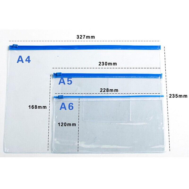 20pcs File Bag Stationery Plastic Bag Translucent Folder A4/A5/A6 Size Document Bag Filing Paper Storage Office School Supplies