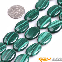 Malachite Flat Olivary Oval Grade A Malachite Beads Natural Stone Beads DIY Beads For Fashion Jewelry