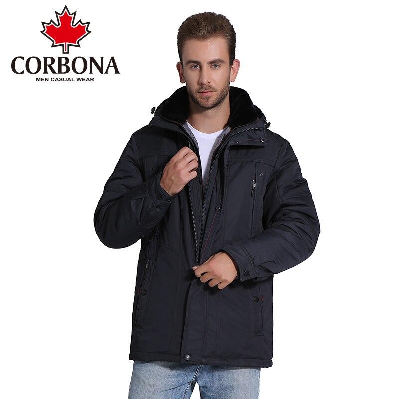 CORBONA Hiver Hommes Veste Épaisse Capuche Chaud manteau Overwear Mens Parka Mode Casual Marque Vêtements Mâle Manteau