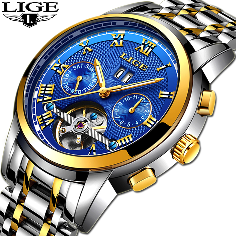 LIGE Men Classic Mechanical Watch Mens Stainless Steel Watch Top Brand Luxury Men Watch Transport Wholesale Relojes Hombre+BOXLIGE Men Classic Mechanical Watch Mens Stainless Steel Watch Top Brand Luxury Men Watch Transport Wholesale Relojes Hombre+BOX