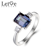 Leige Jewelry Alexandrite Ring Promise Ring Emerald Cut Color Changing Gemstone June Birthstone 925 Sterling Silver
