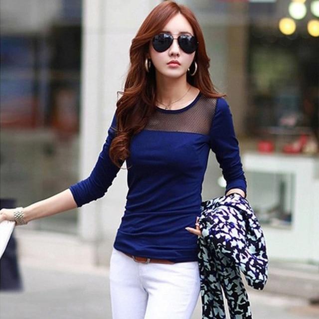 3ac08abcdf0c Korean Fashion Women s Summer Style Cotton Lace Mesh Patchwork Long Sleeve  Shirts T Shirt Women Tops
