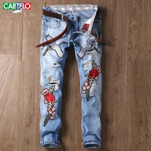 CARTELO Men's fashion jeans men flowers and birds embroidery holes badges Slim small straight cowboy tide pants 886