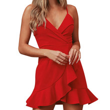 Сексуальное платье, летнее платье, модное, размера плюс, сексуальное, v-образный вырез, оборки, без рукавов, Топики, свободное платье, вечернее платье, robe femme ete