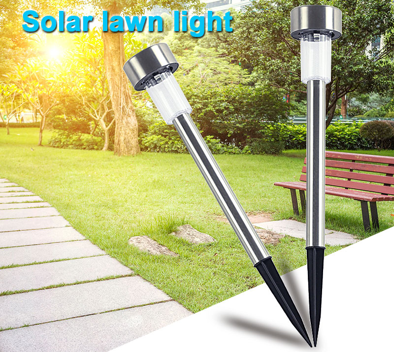 Outdoor Solar Light Colorful Changing Solar Lawn Light Garden Lamp Waterproof Stainless Steel Yard Path Lawn Lamp 7
