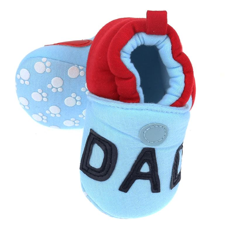 Newborn Shoes Winter Warm First Walker for Girl Boy I Love Mom I Love Dad Letter Print Soft Soler Cotton Footwear for New Year