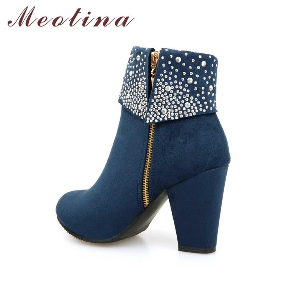 Meotina Kış Kadın Botları Moda Kalın Yüksek Topuklu Çizmeler Kristal Sonbahar yarım çizmeler Kadın Ayakkabı için Mavi Kırmızı Büyük Boy 9 42 43