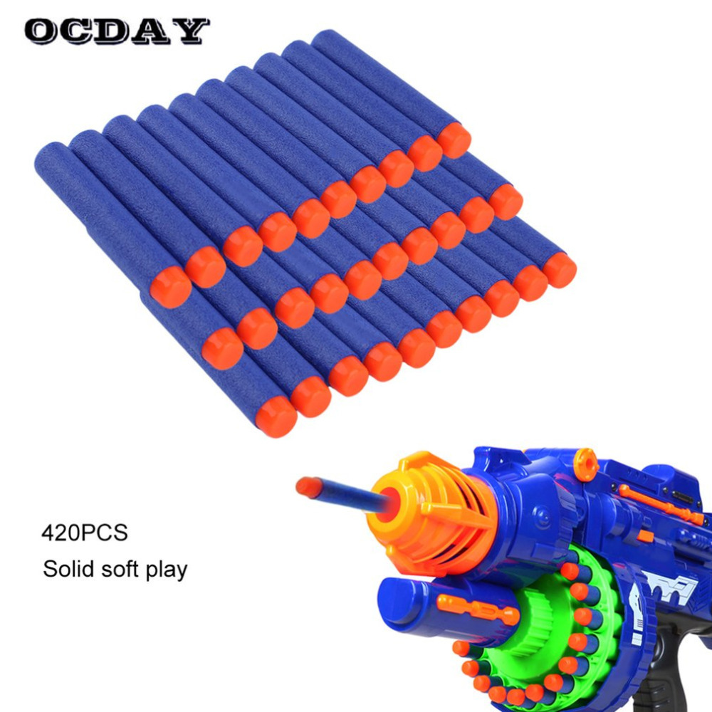OCDAY 50/100/200PCS Soft EVA Bullets For Toy Gun Hollow Hole Head Refill Darts Toys Bullets for Kid Children Gift Outdoor Play