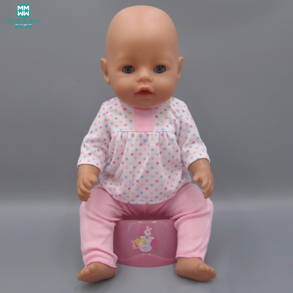 Doll clothes fits 43cm-45cm american girl and Baby Born baby doll casual outfit set  crawling clothes