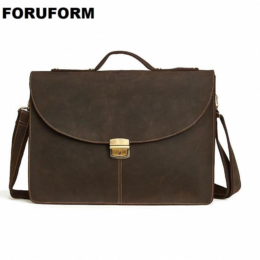 Top Grade Male Men Vintage Real Crazy Horse Leather Briefcase Messenger Shoulder Portfolio Laptop Bag Case Office Handbag I-2100