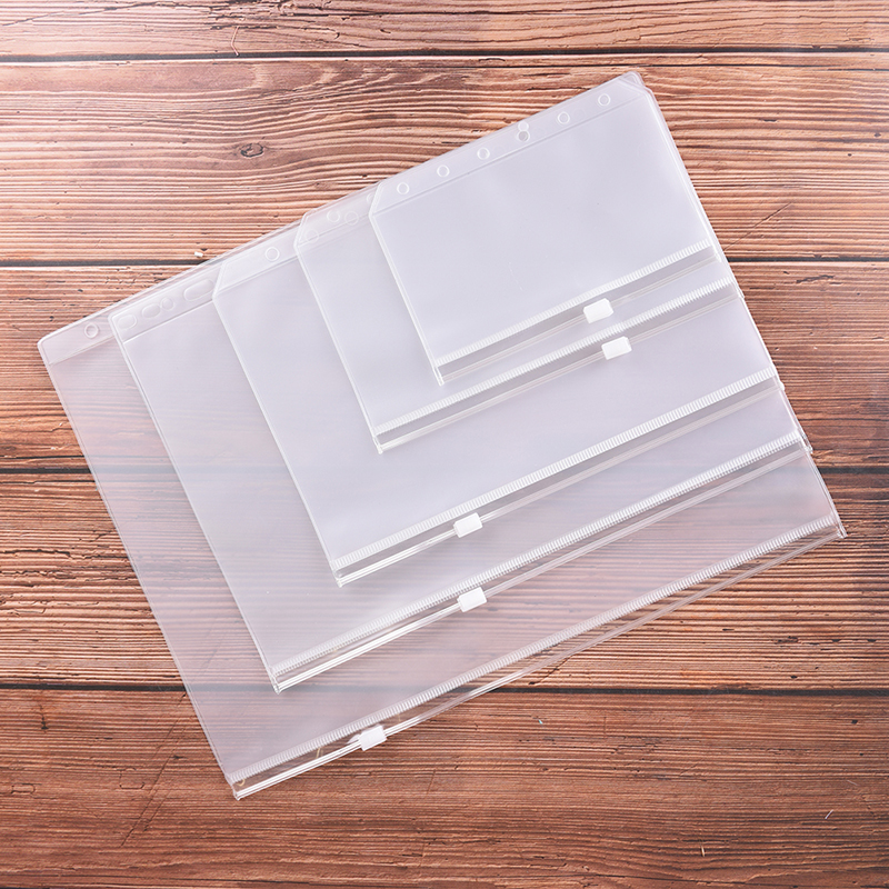 1pc A4 A5 A6 A7 B5 File Holders Standard 6 Holes Transparent PVC Loose Leaf Pouch With Self-Styled Zipper Filing Product Binder