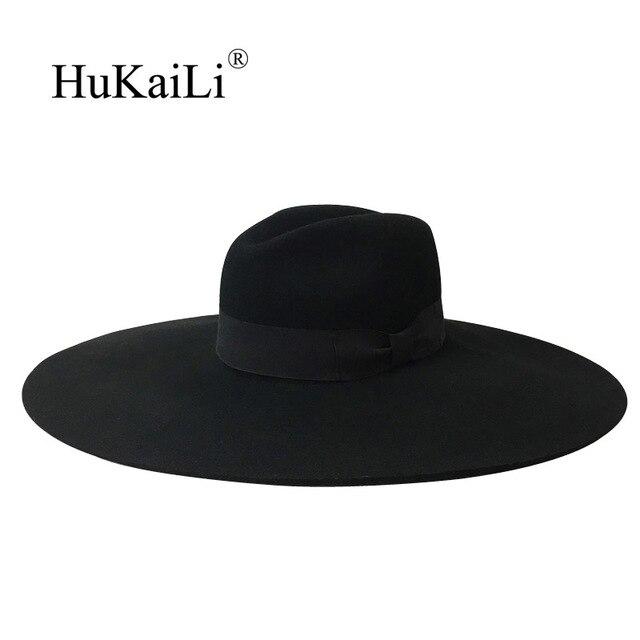 46b69c7766dcf De fieltro de lana sombrero de ala ancha con 16 cm gran sombrero de ala  gorra