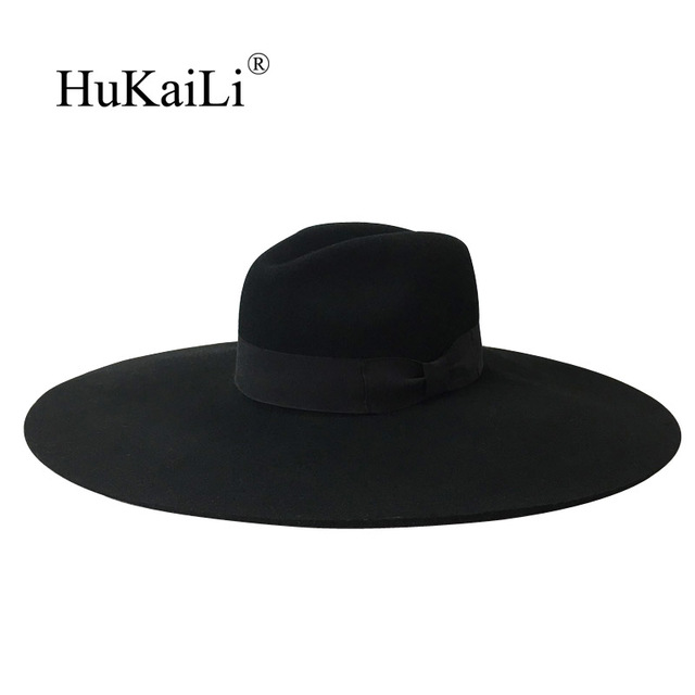 Luxury Wool felt Wide Brimmed hat with 16cm large brim hat casquette chapeu  fashion Black white 6c2fa615624