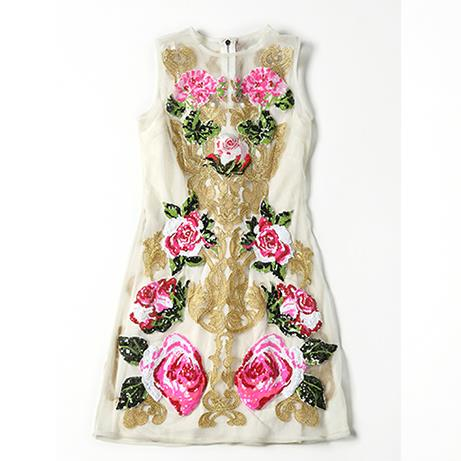 Clearance sale for European and American women's 2018 winter clothing new Heavy sequined embroidery Vest dress