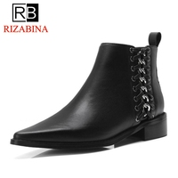 RizaBina Women Genuine Leather Ankle Boots Fashion Fur Shoes Woman Winter Zipper Pointed Toe S Ladies Warm Shoes Size 34 39