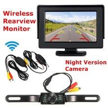 4.3 Pollici 12 V LCD Monitor di Visione Notturna di IR Telecamera di retromarcia Wireless Car Rear View Kit