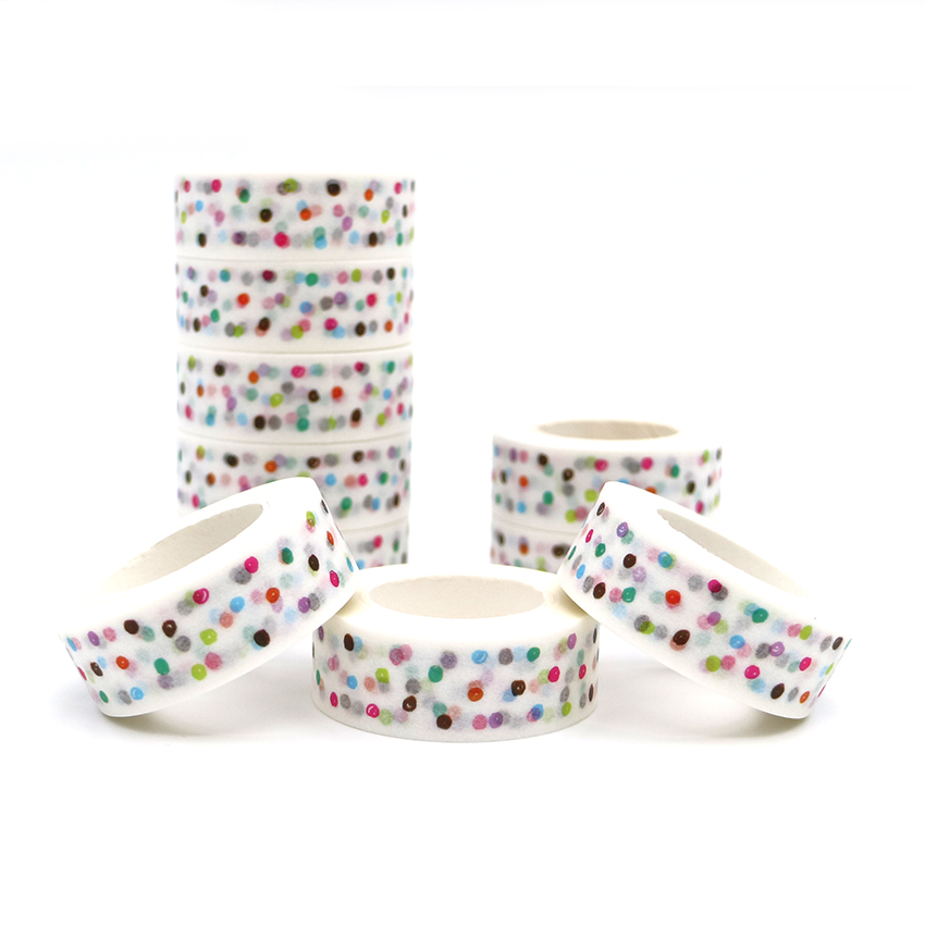 10m*15mm Creative Colored Dots Washi Tape DIY Decoration Scrapbooking Planner Masking Tape Kawaii Stationery Adhesive Tape 1 PCS 10m 15mm creative colored dots washi tape diy decoration scrapbooking planner masking tape kawaii stationery adhesive tape 1 pcs