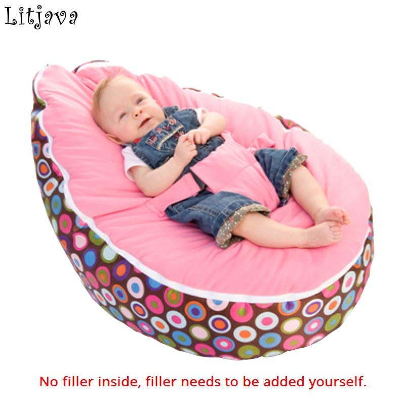Just A Cover! 2018 New Multicolors Baby Beanbag Pouf Portable Baby Chair Folding Mama Sandalyesi Harness Safety Belt