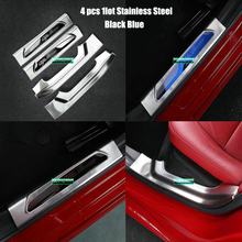 Stainless Inside Door Sill Scuff Threshold Protector Plate Cover Trim For Alfa Romeo Giulia 2017 car-styling car Accessories 4PS aluminum alloy exterior door sill scuff threshold protector plate cover trim for land rover discovery 5 lr5 2017 car styling