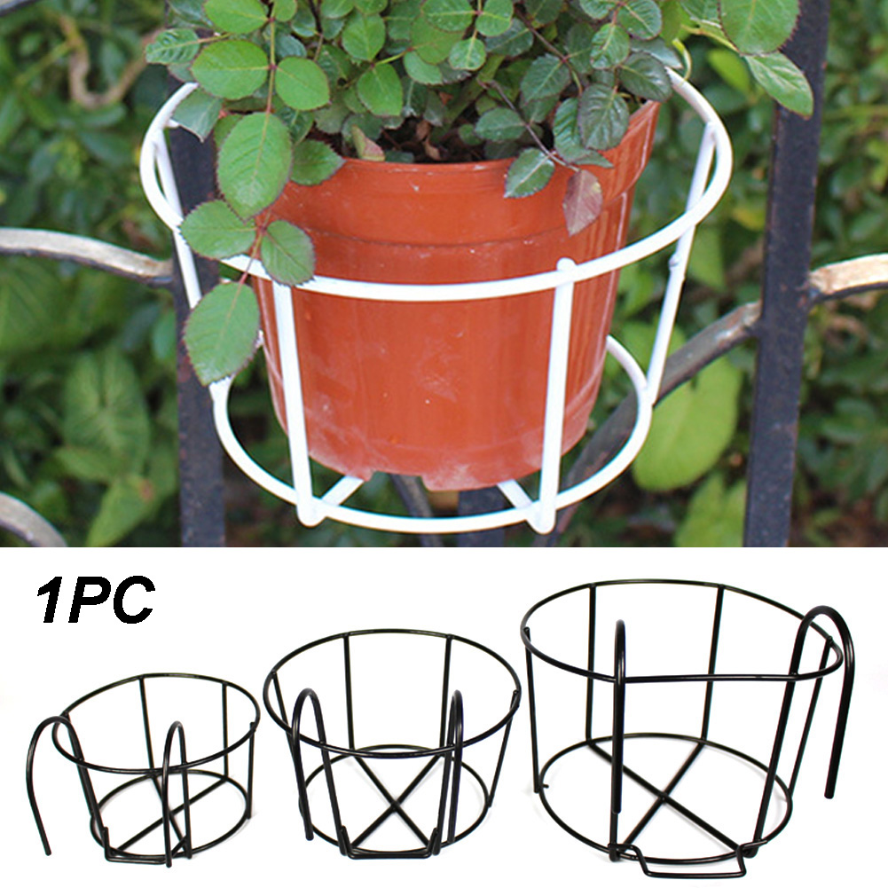 Ornaments Flower Rack Iron Stand Plant Garden Hanging Pot Holder Round Indoor Outdoor Balcony Frame