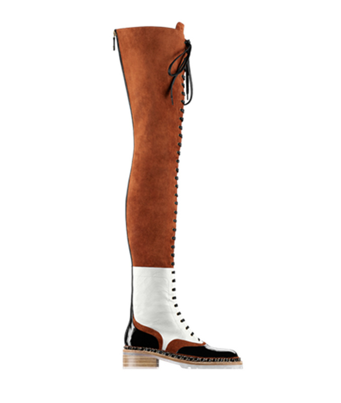 designer brown suede leather lace-up thigh high boots autumn winter women color block flat over the knee motorcycle boots