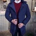 Homens 2016 nova marca de moda inverno longo jaquetas hombre sólida com capuz de algodão grosso quente casacos além disso 3xl slim dress