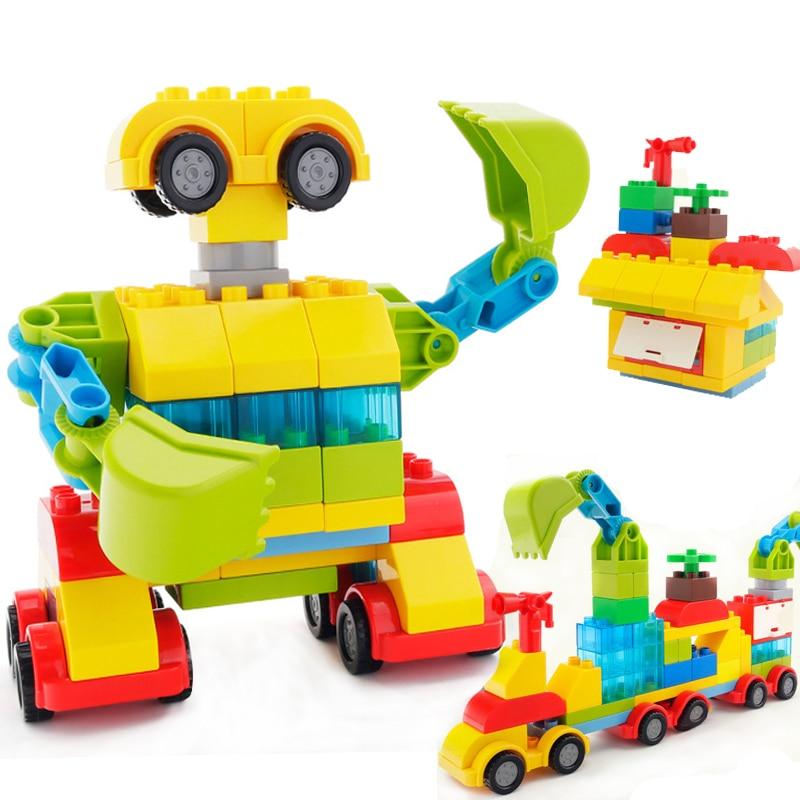 DIY Deformation Robot Blocks 3 IN 1 Train House Building Blocks Sets Children Vehicle Bricks Toys For Children Gifts in Blocks from Toys Hobbies