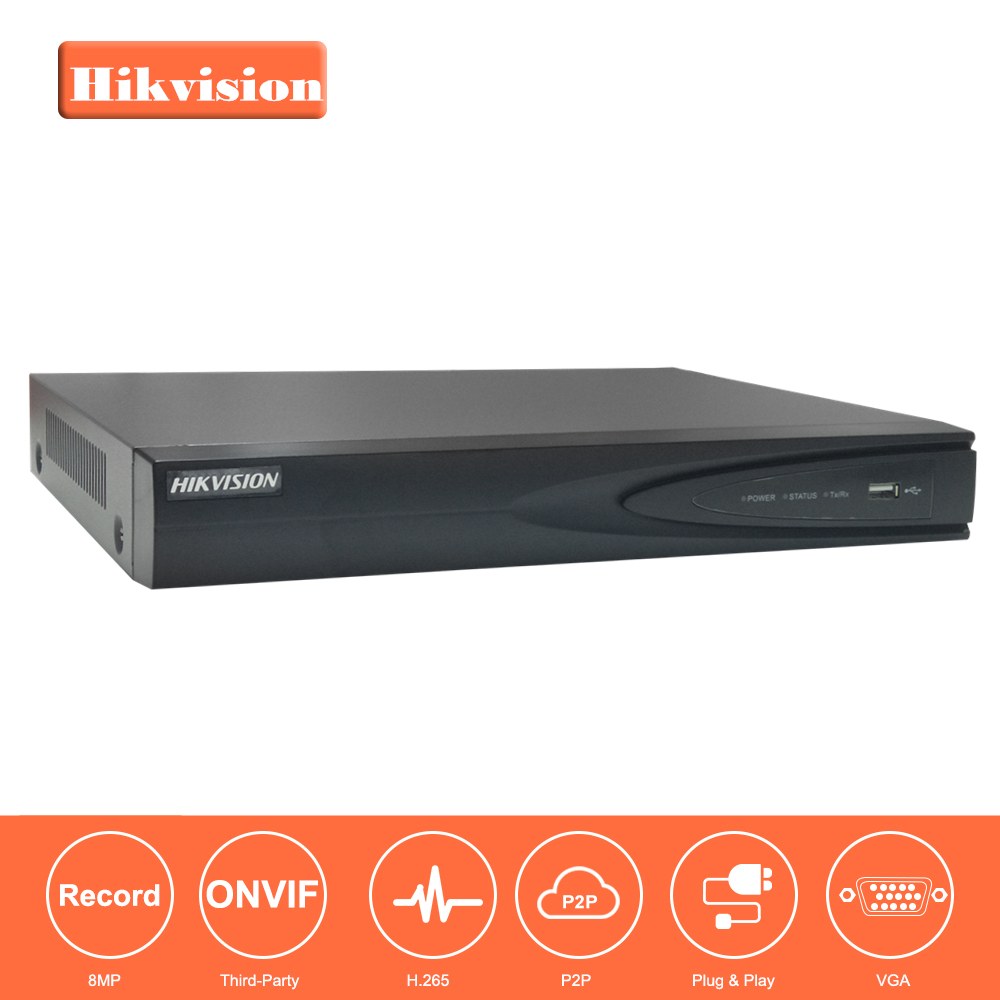 Hikvision 4CH PoE NVR DS-7604NI-K1/4P 4 Channel Embedded Plug Play 4K NVR with 4 PoE Ports for IP Camera CCTV System
