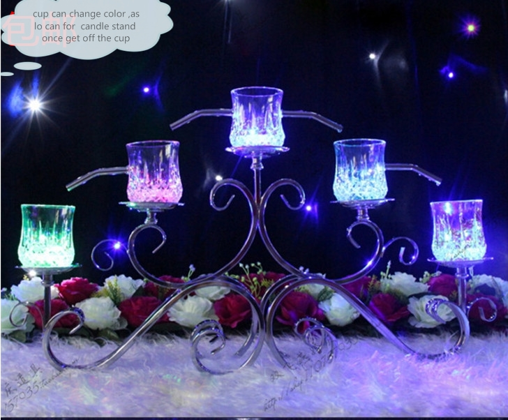 Wedding Table decoration Champagne Tower Stand Champagne Light Cup Metal Candle Stand Wedding Party Decoartion