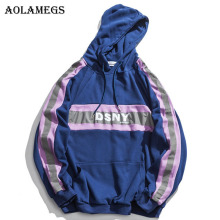 Aolamegs Reflective Printed Hooded Pullover Sweatshirt Men High Street Hip Hop