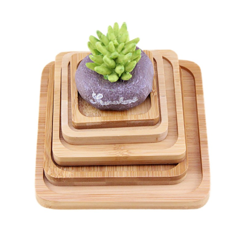 1 pc Square Bamboo Flower Pot Tray 1