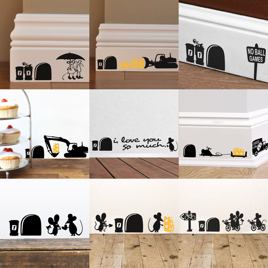 Funny Mice Family Wall Stickers Home Decor kids Living Room Creative Sticker Self Adhesive Black Vinyl Wall Decals Animals