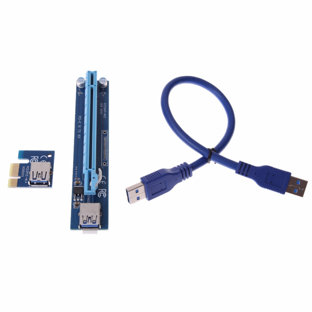 цена на Graphics card riser pci-e 1x to 16x Extender Riser Card with SATA 15Pin to 4Pin molex Power Cable riser for bitcoin miner mining