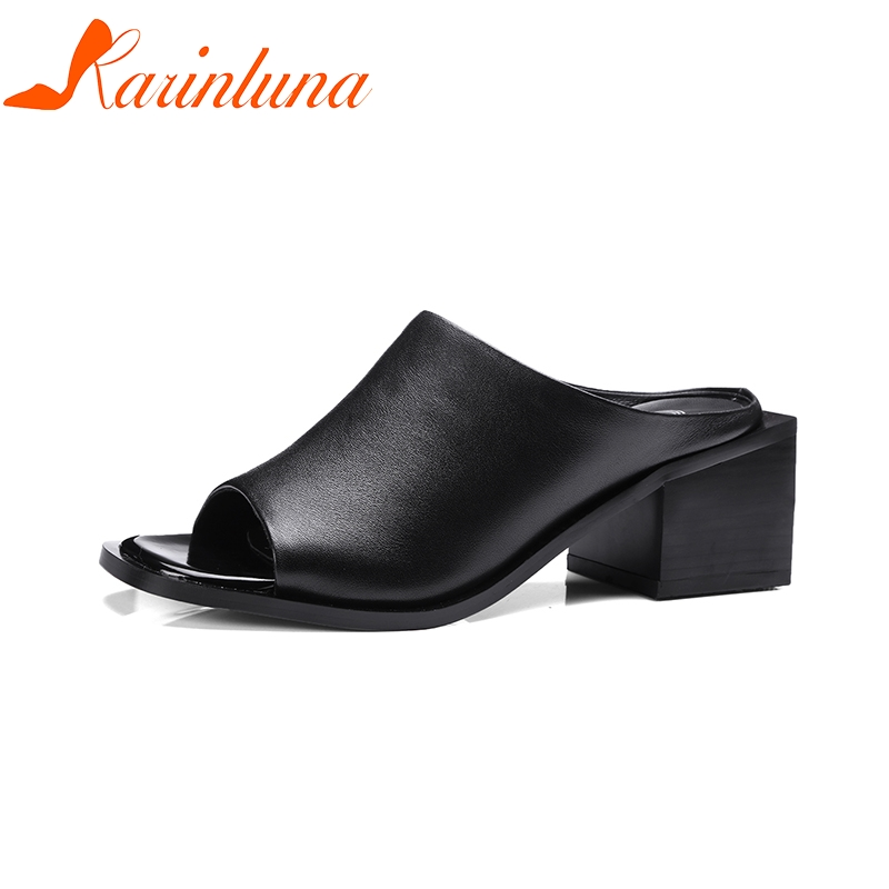 KARINLUNA Brand New Plus Size 34-42 Cow Genuine Leather Woman Shoes Slip On Women Shoes Casual White Summer Sandals bohemia plus size 34 41 new fashion wedges sandals slip on elastic band casual platform shoes woman summer lady shoes shallow