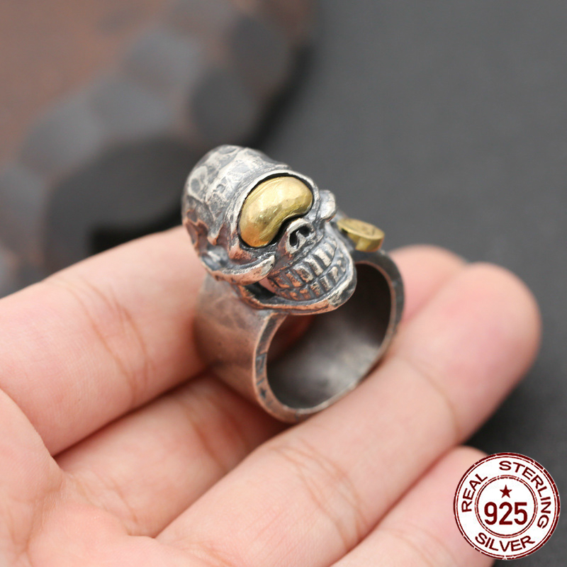 S925 sterling silver ring personality fashion jewelry retro hand-carved domineering skull ring punk men's ring 2018 new hot s925 sterling silver skull ring metrosexual officers personality of world war ii punk man retro silver ring opening