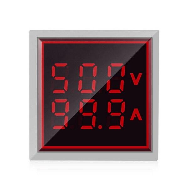 DHL 50pcs Square LED Digital Voltmeter Ammeter Signal Lights Voltage Current Meter Indicator Tester Measuring AC