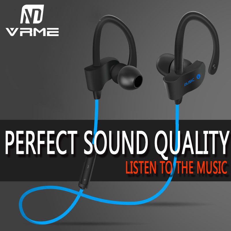 Vrme Sport In Ear Headphone Bluetooth Wireless Earphone Super Bass Stereo Running Headset with Microphone for iPhone X 7 Xiaomi plufy bluetooth earphone headphone wireless speaker sport headphone bass stereo headset noise cancelling for iphone xiaomi l29