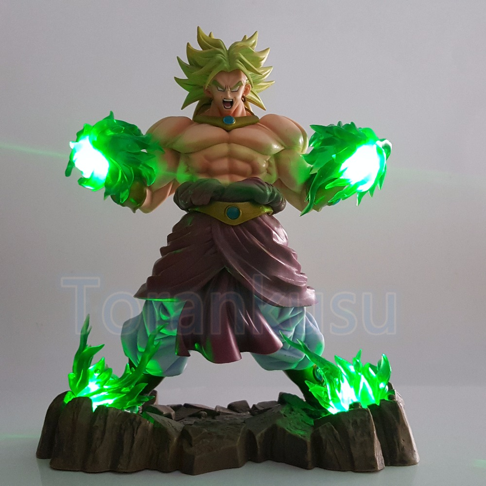 Dragon Ball Z Action Figure Broly Green Power Led Light DIY Set Super Saiyan Broli Display Model Toy Dragon Ball Super DIY171 dragon ball z broli 1 8 scale painted figure super saiyan 3 broli doll pvc action figure collectible model toy 17cm kt3195