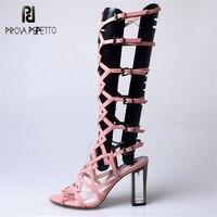 Prova Perfetto Гладиатор геометрический крест узкой лентой дизайн загрузки сандалии для девочек пояса из натуральной кожи выдалбливают