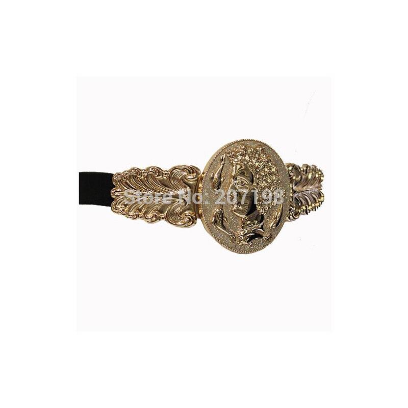 Дамы блестящий золотой тон большая круглая монета металлической пряжкой ремня queen и Dophin Платье Стретч пояса для Для женщин модный аксессуар...