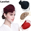 Superstar Wine Womens Dress Fascinator Wool Felt Pillbox Hat Party Wedding Bow Veil Uniform mesh hatA082