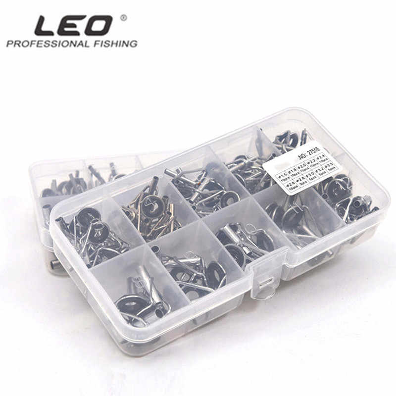 LEO 80pcs/box Fishing Rod DIY Accessories Multiple Sizes Fishing Rod Guide Tip Kit Telescopic Fishing Rod Tips with 2 Legs