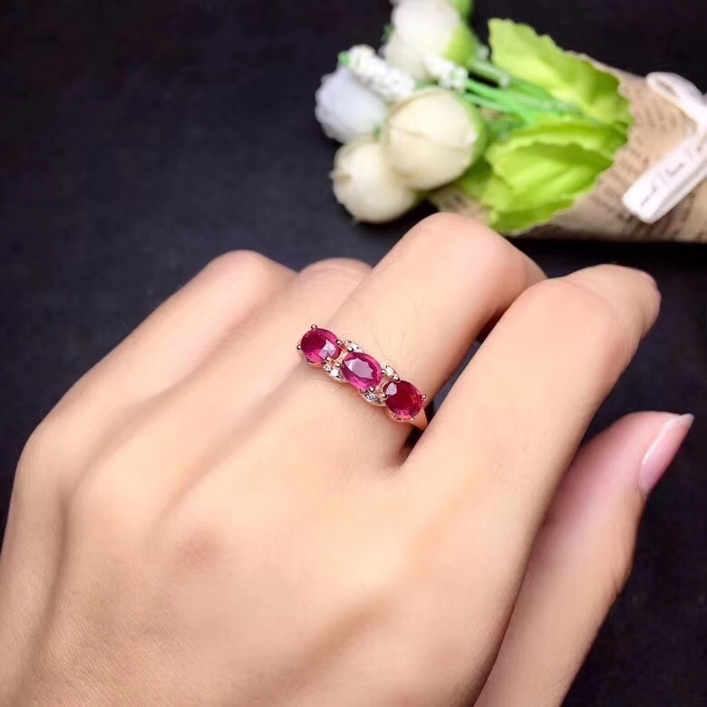 Original ruby ring Free shipping Natural and real ruby 925 sterling silver 4*5mm*3pcs gemstone
