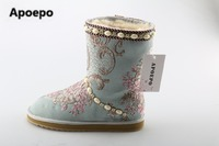Apoepo Hot Selling Flower Embroidery Snow Boots For Woman Winter Fashion Flat Shoes White Pearls Decorations