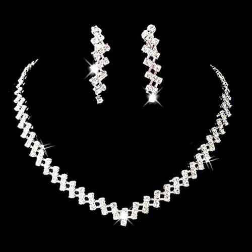 Women Necklace Earring Set Bridal Wedding Prom Jewelry Shining Rhinestone Elegant Gift