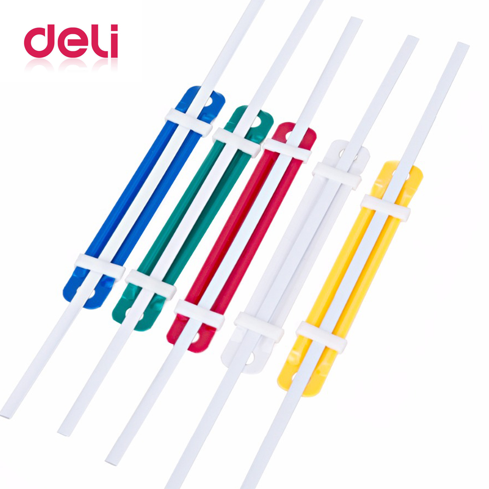 Deli 1pack Double Hole Plastic Binding Clip Hole Punch Colorful Plastic Clip A4 2 Hole Punch Loose Files / Right