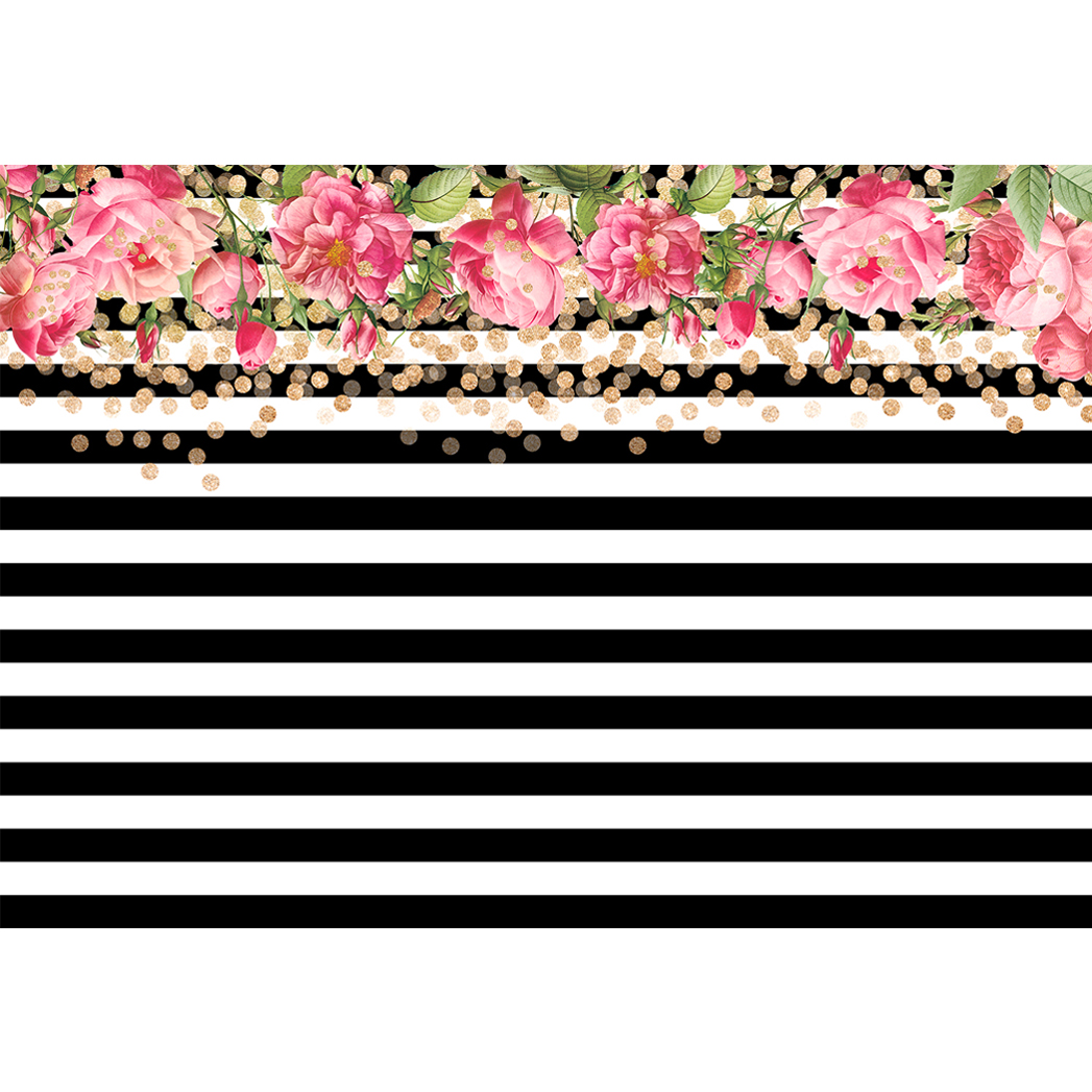 Allenjoy photo background gold dots pink flower white and black allenjoy photo background gold dots pink flower white and black stripes birthday new backdrops photocall for a photo shoot in background from consumer mightylinksfo