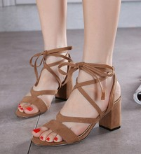 2016 New Fashion Cross Straps Sandals Thick with High-heeled Shoes Rome Female Summer Lace Up Open-toed Ladies Sandals Size34-39