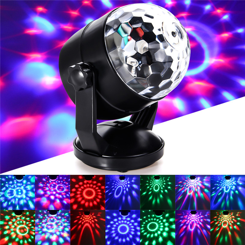 Mini 5V LED RGB Stage Light Voice Control Magic Ball Laser Stage Lighting Effect For Disco Crystal Effect DJ Club Bar Party Pub