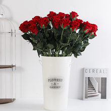 Silk Rose Artificial Flower Wedding Home Furnishings Diy Simulation Flower Home Vase Hotel Photography Props Decor(China)